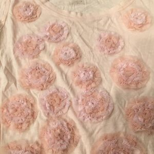 Tops - Blush Pink Ruffle Flower Tee